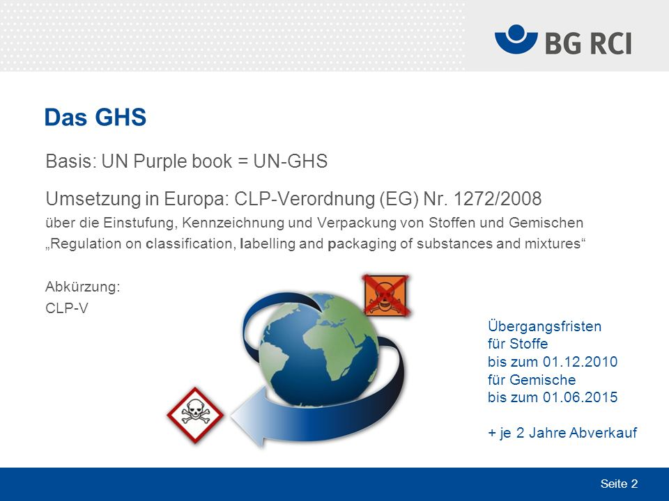 Seite 2 Das GHS Basis: UN Purple book = UN-GHS Umsetzung in Europa: CLP-Verordnung (EG) Nr. 1272/2008 über die Einstufung, Kennzeichnung und Verpackun