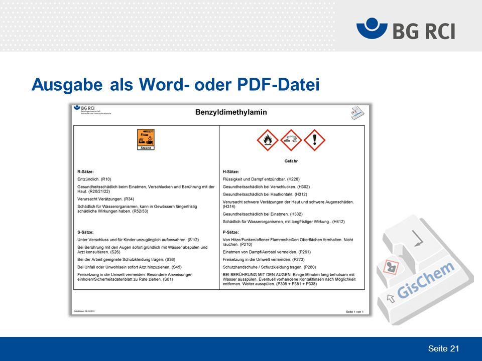 Seite 21 Ausgabe als Word- oder PDF-Datei