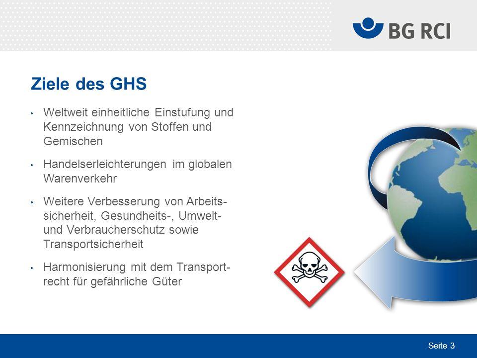 Seite 3 Ziele des GHS Weltweit einheitliche Einstufung und Kennzeichnung von Stoffen und Gemischen Handelserleichterungen im globalen Warenverkehr Wei