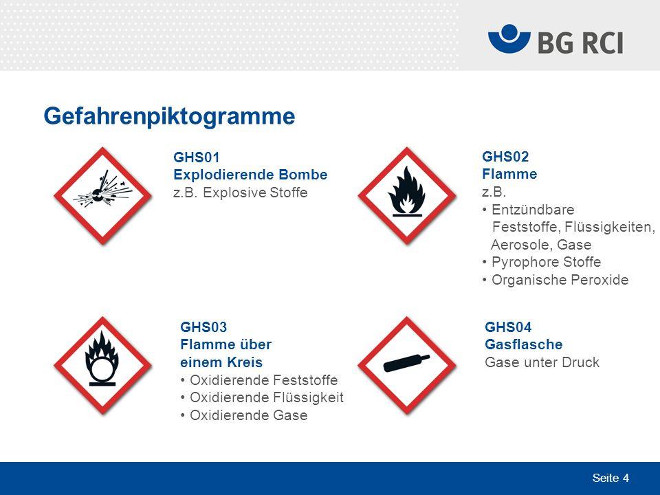 Seite 4 Gefahrenpiktogramme GHS03 Flamme über einem Kreis Oxidierende Feststoffe Oxidierende Flüssigkeit Oxidierende Gase GHS04 Gasflasche Gase unter