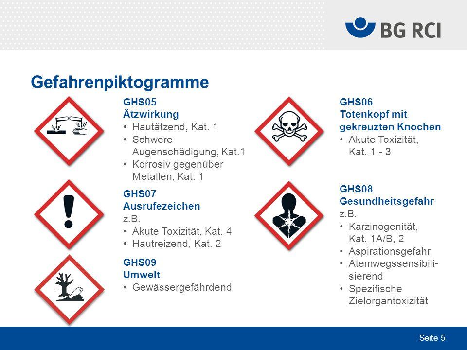Seite 5 Gefahrenpiktogramme GHS06 Totenkopf mit gekreuzten Knochen Akute Toxizität, Kat. 1 - 3 GHS08 Gesundheitsgefahr z.B. Karzinogenität, Kat. 1A/B,