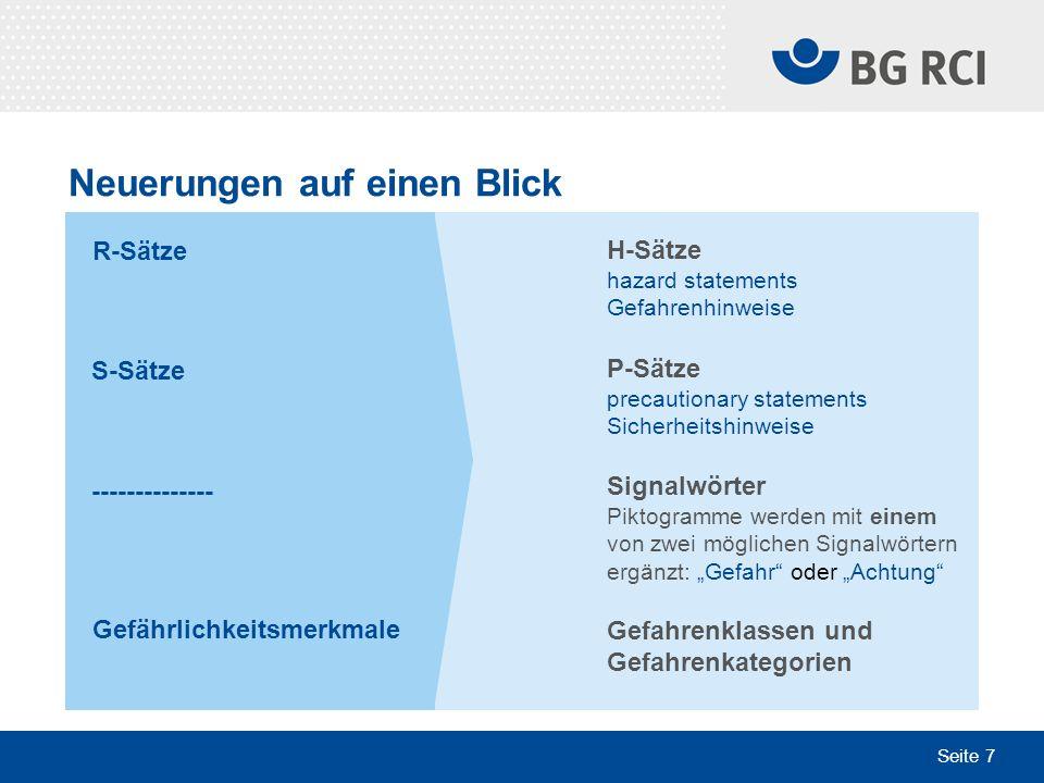Seite 18 Plakate geben Hilfestellung Sektion Chemie der IVSS, Arbeitskreis Gefährliche Stoffe in Zusammenarbeit mit der BG RCI Bezug über www.bgrci.de > Presse & Medien > Medienshopwww.bgrci.de > Presse & Medien > Medienshop