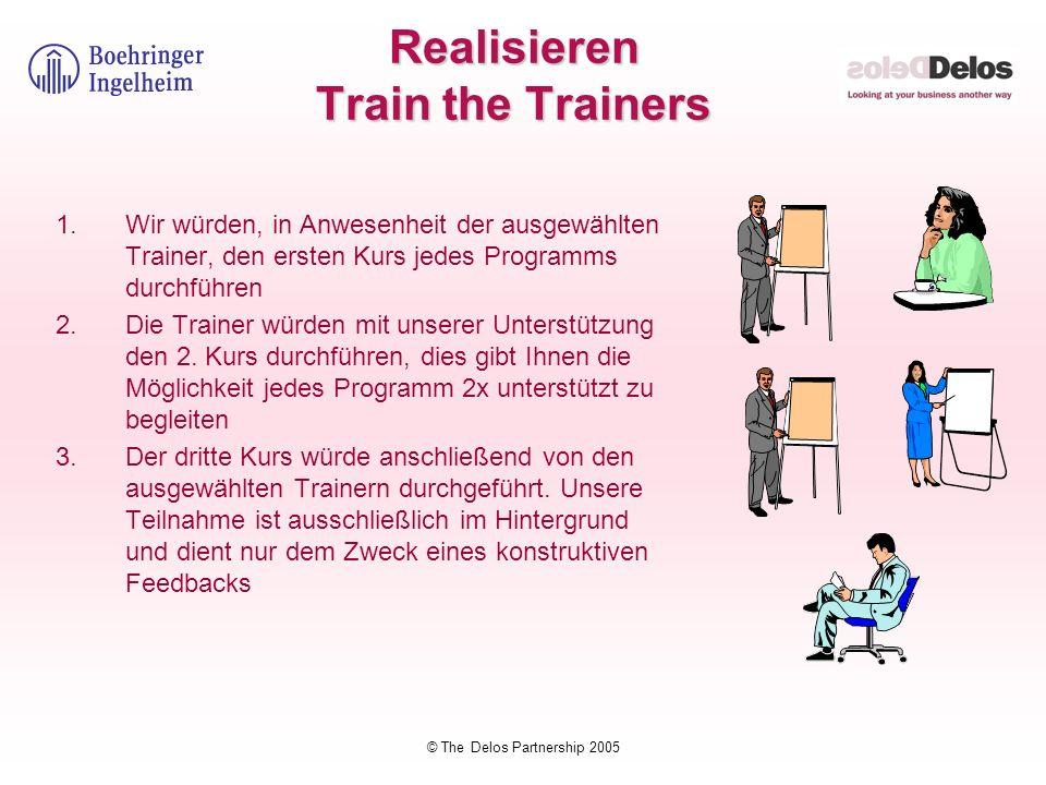 © The Delos Partnership 2005 Realisieren Train the Trainers 1.Wir würden, in Anwesenheit der ausgewählten Trainer, den ersten Kurs jedes Programms dur