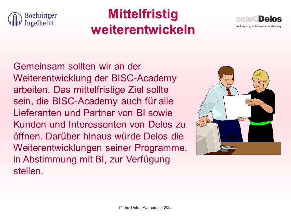 © The Delos Partnership 2005 Mittelfristig weiterentwickeln Gemeinsam sollten wir an der Weiterentwicklung der BISC-Academy arbeiten. Das mittelfristi