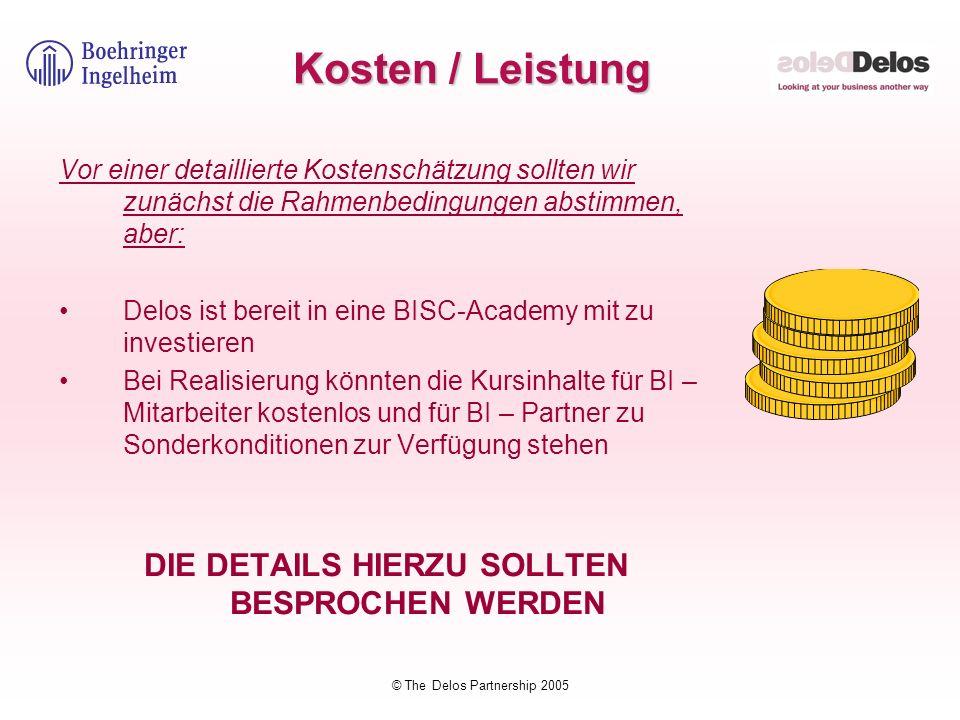 © The Delos Partnership 2005 Kosten / Leistung Vor einer detaillierte Kostenschätzung sollten wir zunächst die Rahmenbedingungen abstimmen, aber: Delo
