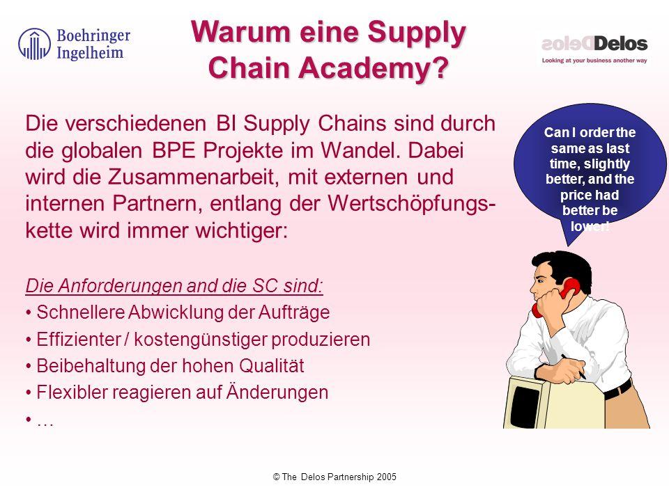 © The Delos Partnership 2005 Warum eine Supply Chain Academy? Die verschiedenen BI Supply Chains sind durch die globalen BPE Projekte im Wandel. Dabei