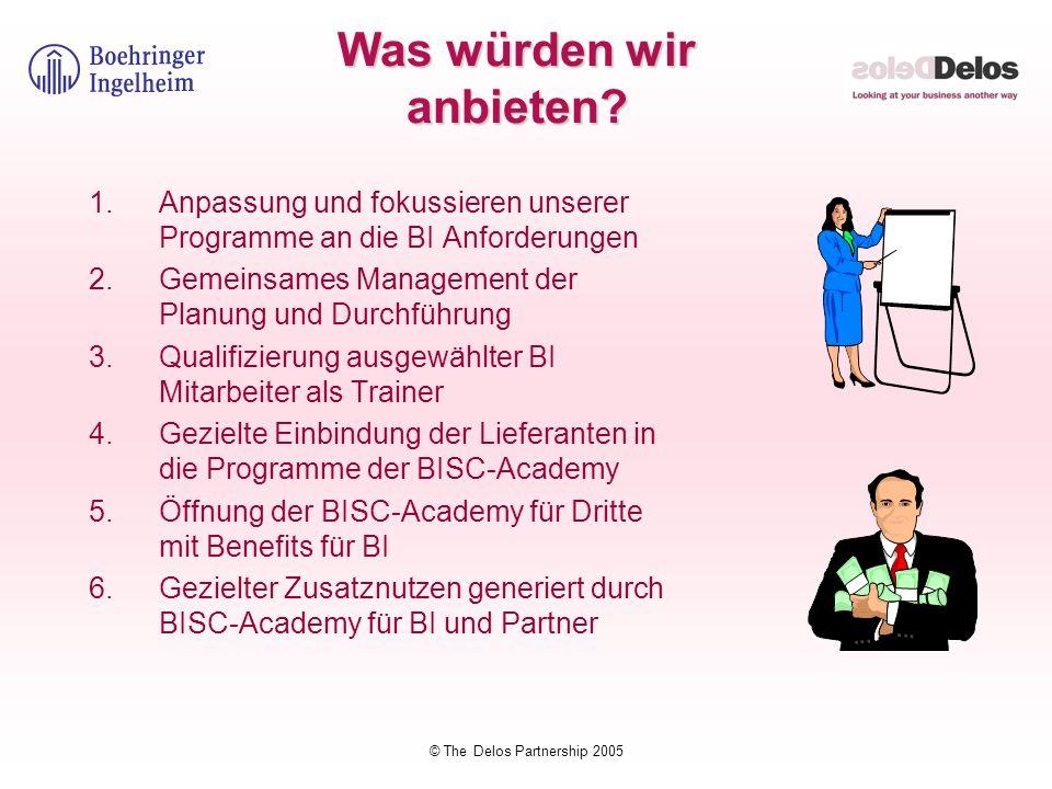 © The Delos Partnership 2005 Was würden wir anbieten? 1.Anpassung und fokussieren unserer Programme an die BI Anforderungen 2.Gemeinsames Management d