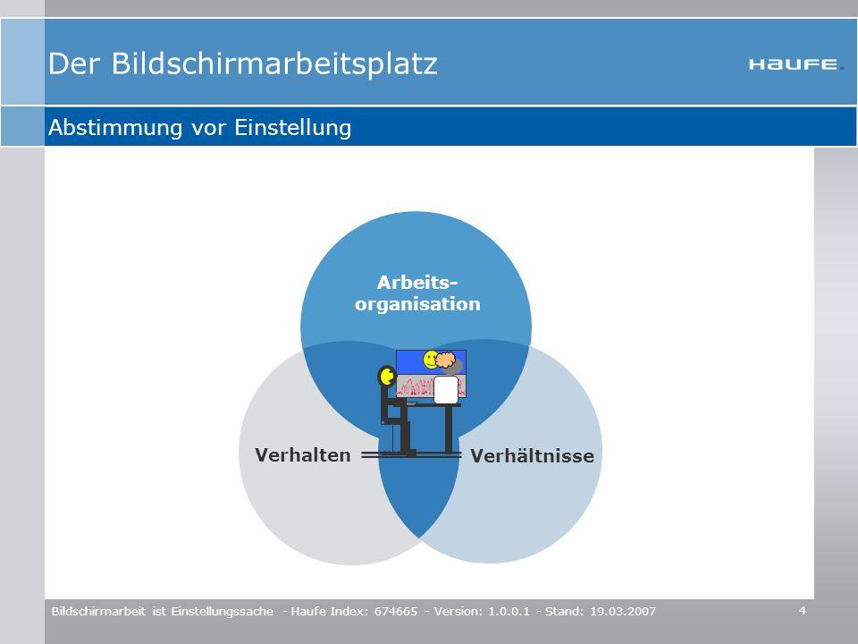 4 Bildschirmarbeit ist Einstellungssache - Haufe Index: 674665 - Version: 1.0.0.1 - Stand: 19.03.2007 Abstimmung vor Einstellung Arbeits- organisation