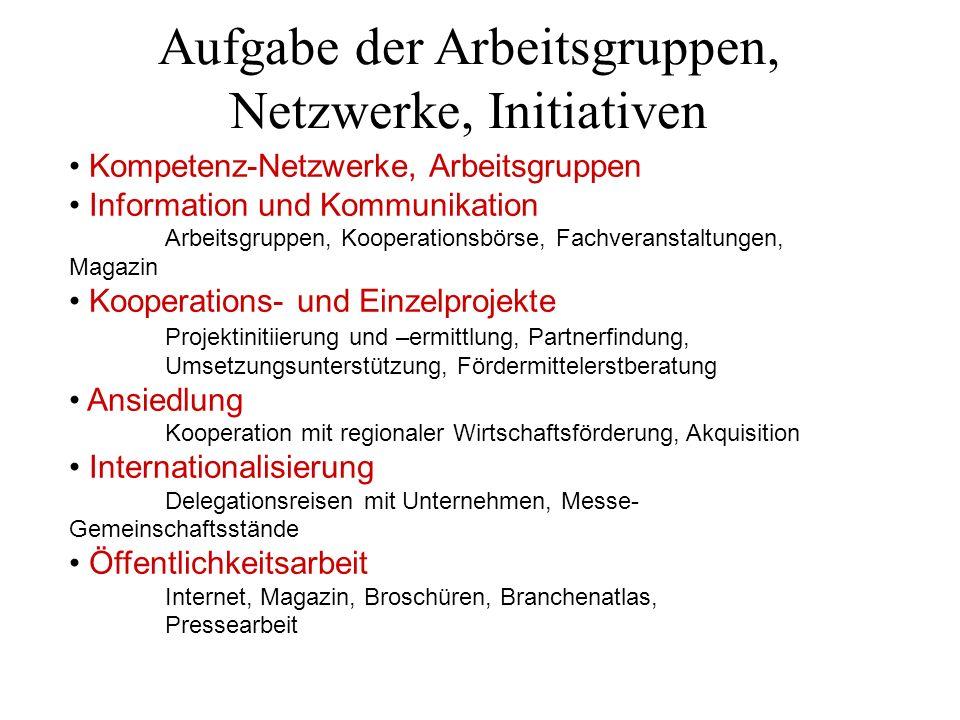 Aufgabe der Arbeitsgruppen, Netzwerke, Initiativen Kompetenz-Netzwerke, Arbeitsgruppen Information und Kommunikation Arbeitsgruppen, Kooperationsbörse