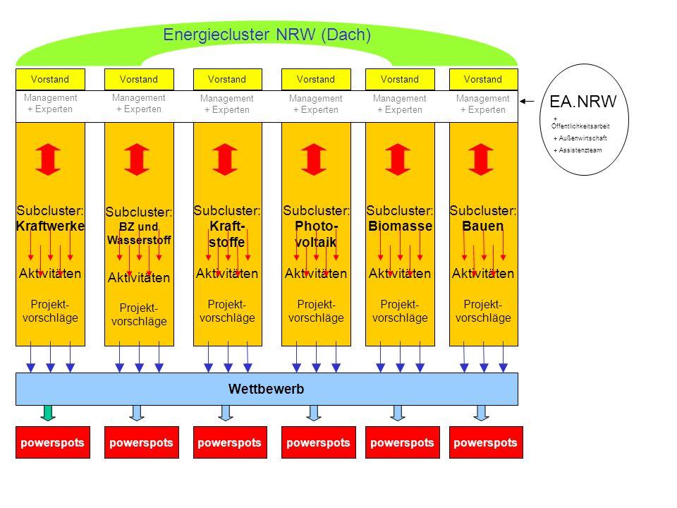 Subcluster: BZ und Wasserstoff Aktivitäten Projekt- vorschläge Subcluster: Kraftwerke Aktivitäten Projekt- vorschläge Vorstand Wettbewerb powerspots V