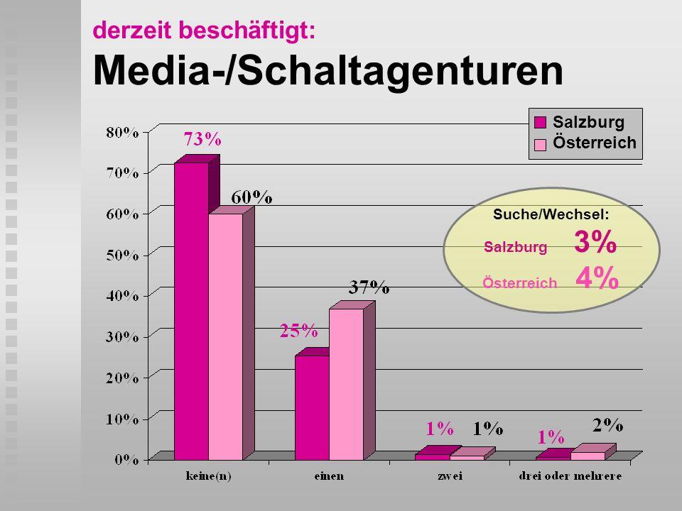 derzeit beschäftigt: Media-/Schaltagenturen Salzburg Österreich Suche/Wechsel: Salzburg 3% Österreich 4%