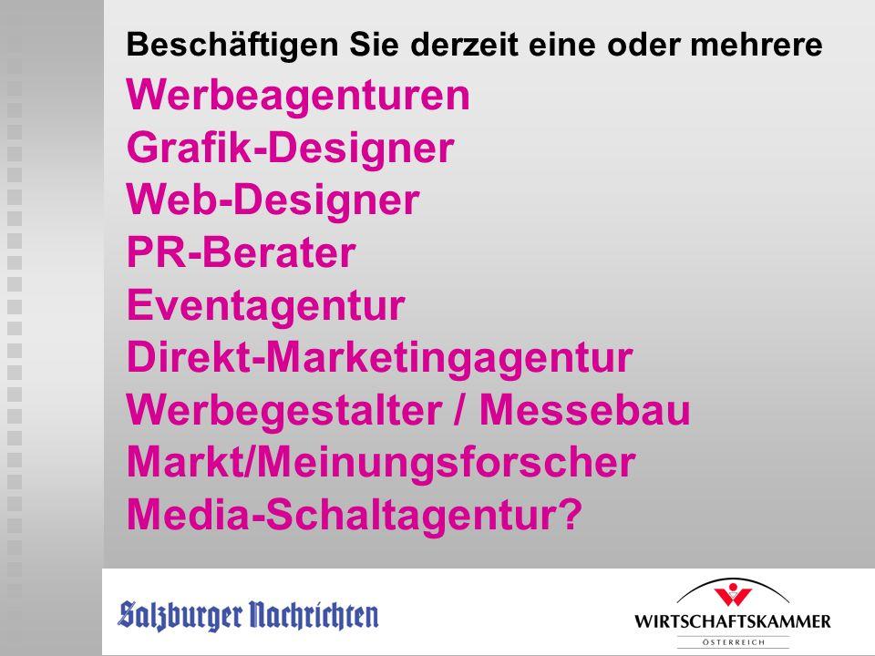 Beschäftigen Sie derzeit eine oder mehrere Werbeagenturen Grafik-Designer Web-Designer PR-Berater Eventagentur Direkt-Marketingagentur Werbegestalter
