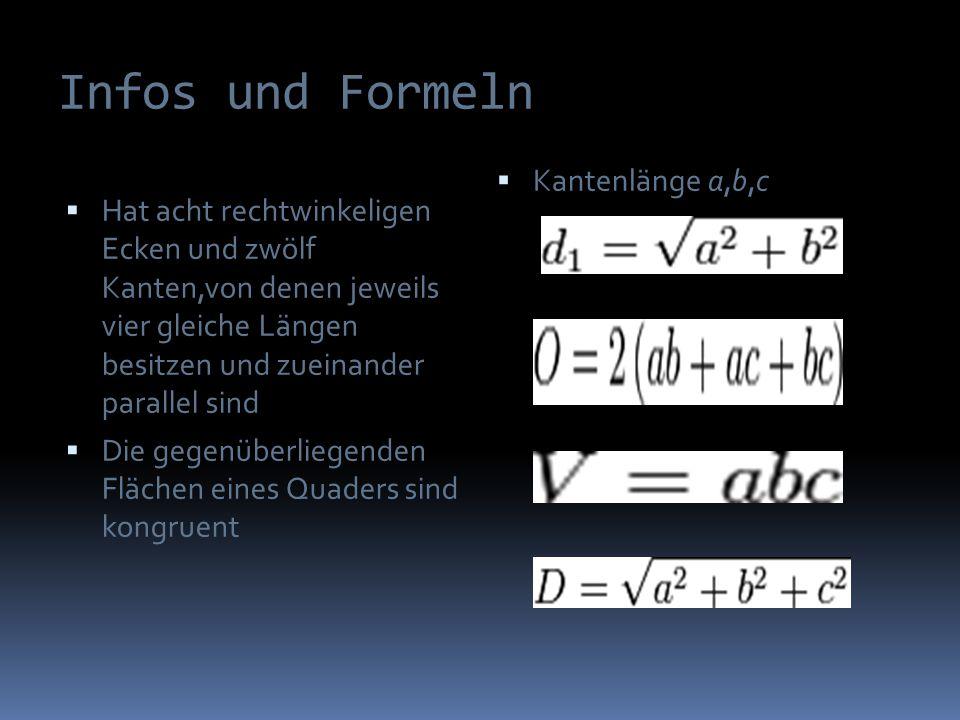 Infos und Formeln Hat acht rechtwinkeligen Ecken und zwölf Kanten,von denen jeweils vier gleiche Längen besitzen und zueinander parallel sind Die gegenüberliegenden Flächen eines Quaders sind kongruent Kantenlänge a,b,c