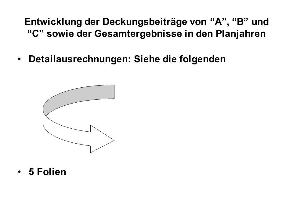 Entwicklung der Deckungsbeiträge von A, B und C sowie der Gesamtergebnisse in den Planjahren Detailausrechnungen: Siehe die folgenden 5 Folien