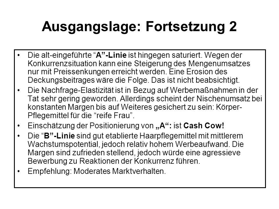 Ausgangslage: Fortsetzung 3 Die Inhaberfamilie möchte unabhängig bleiben, kann aber aber eine forcierte Expansion der Linien B und C finanziell auf die Dauer nicht durchhalten.
