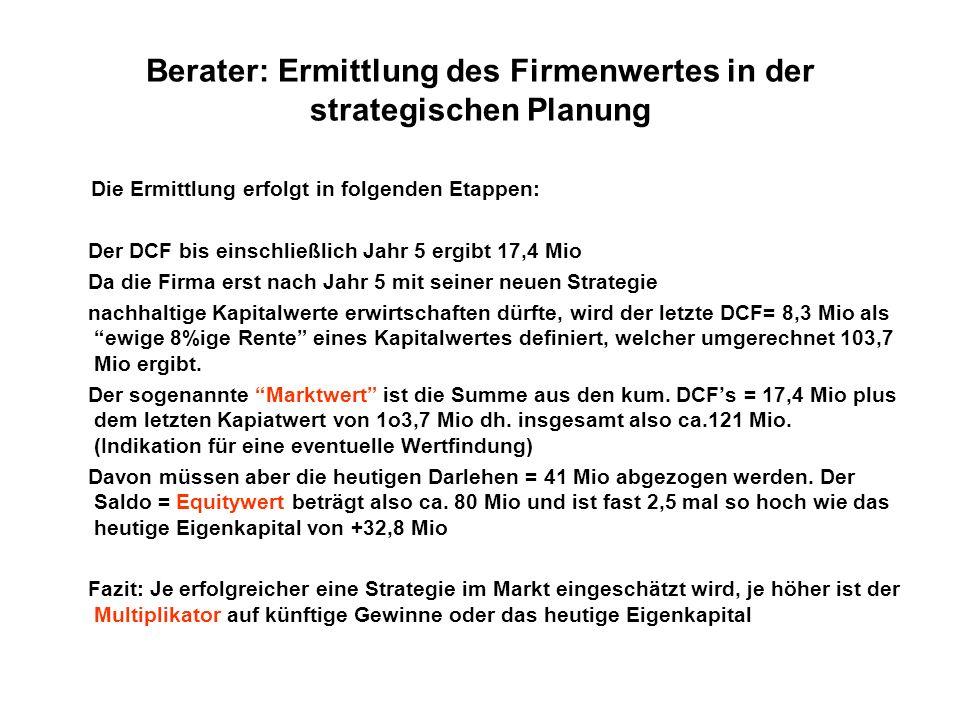 Berater: Ermittlung des Firmenwertes in der strategischen Planung Die Ermittlung erfolgt in folgenden Etappen: Der DCF bis einschließlich Jahr 5 ergib