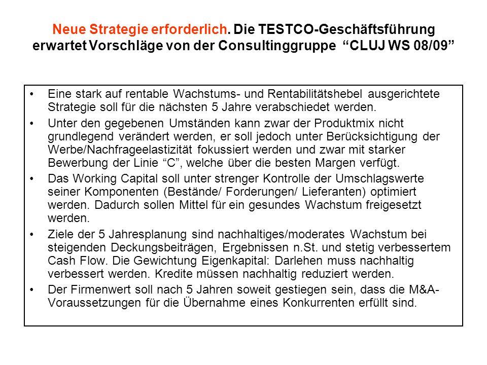 Neue Strategie erforderlich. Die TESTCO-Geschäftsführung erwartet Vorschläge von der Consultinggruppe CLUJ WS 08/09 Eine stark auf rentable Wachstums-