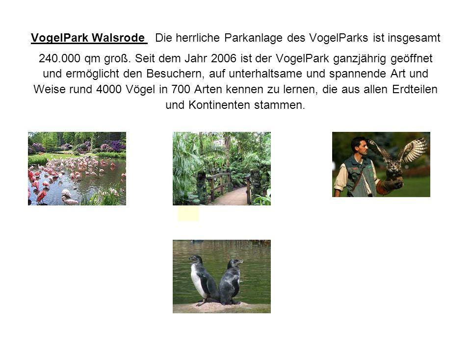 VogelPark Walsrode Die herrliche Parkanlage des VogelParks ist insgesamt 240.000 qm groß. Seit dem Jahr 2006 ist der VogelPark ganzjährig geöffnet und