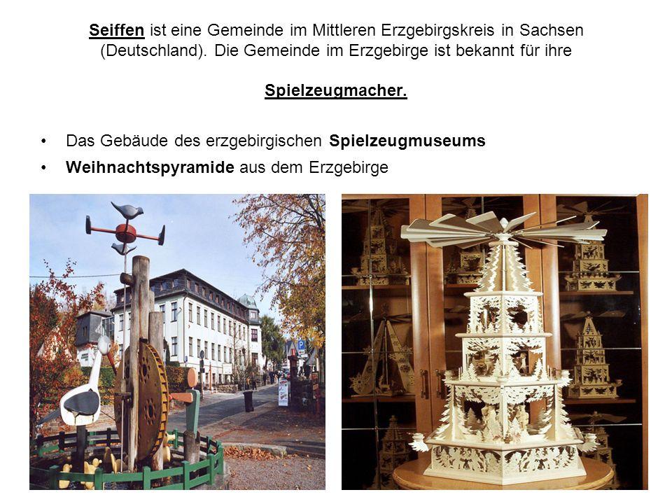 Seiffen ist eine Gemeinde im Mittleren Erzgebirgskreis in Sachsen (Deutschland). Die Gemeinde im Erzgebirge ist bekannt für ihre Spielzeugmacher. Das