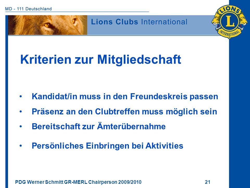 PDG Werner Schmitt GR-MERL Chairperson 2009/2010 21 Kriterien zur Mitgliedschaft Kandidat/in muss in den Freundeskreis passen Präsenz an den Clubtreff