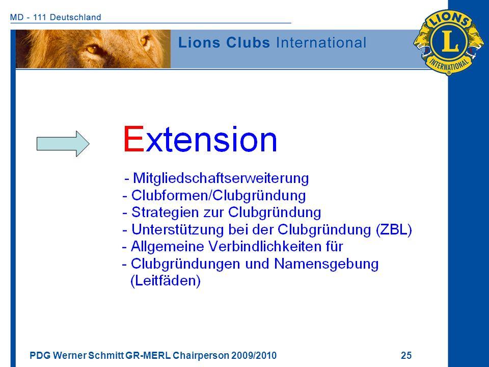 PDG Werner Schmitt GR-MERL Chairperson 2009/2010 25