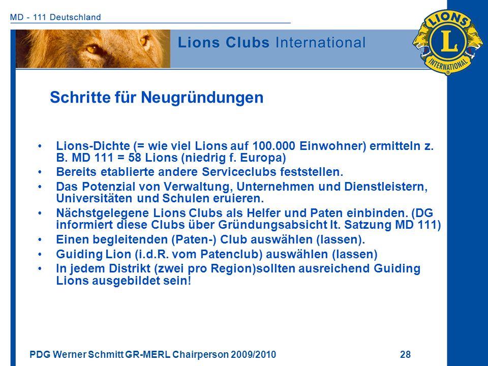 PDG Werner Schmitt GR-MERL Chairperson 2009/2010 28 Schritte für Neugründungen Lions-Dichte (= wie viel Lions auf 100.000 Einwohner) ermitteln z. B. M