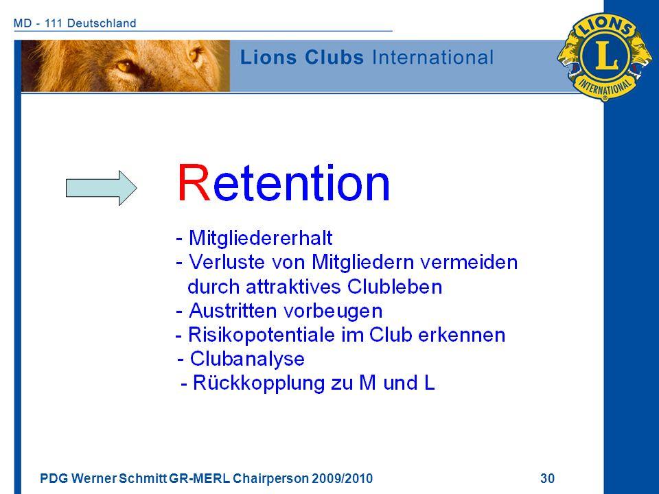 PDG Werner Schmitt GR-MERL Chairperson 2009/2010 30