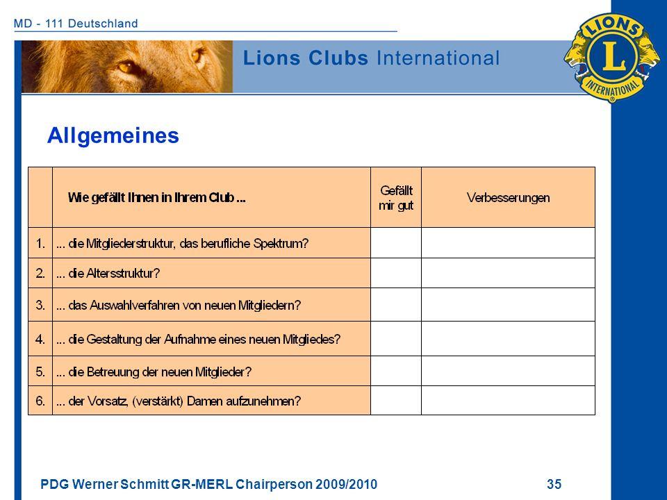 PDG Werner Schmitt GR-MERL Chairperson 2009/2010 35 Allgemeines