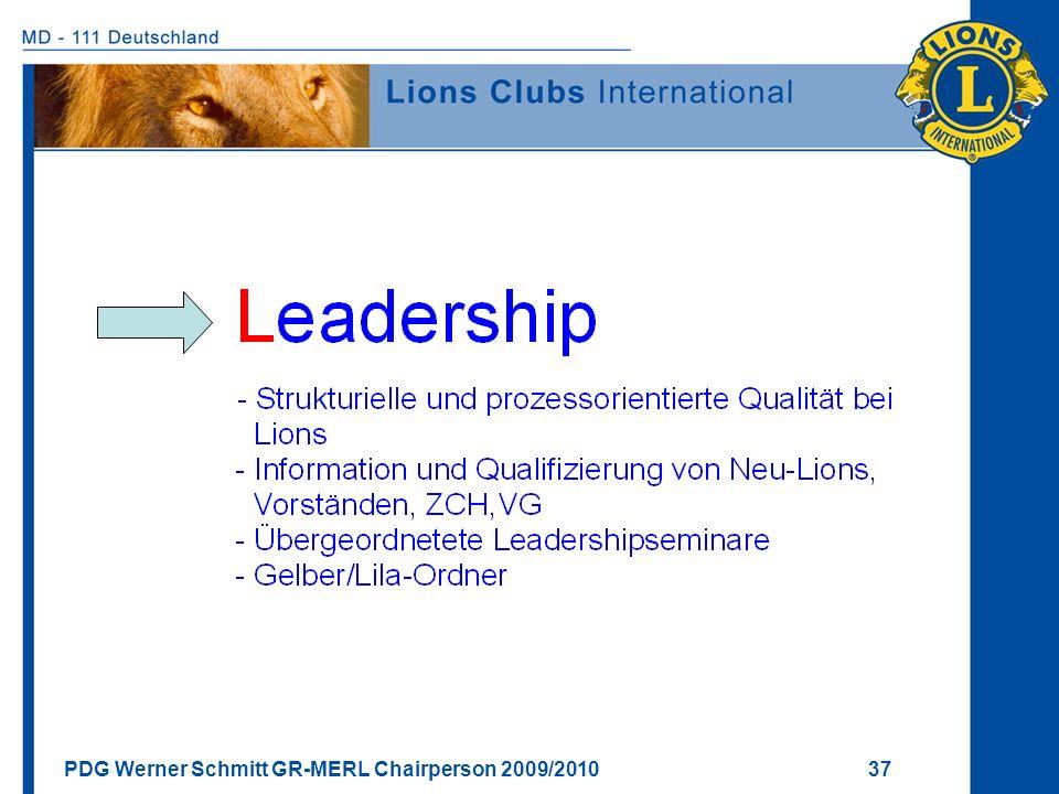 PDG Werner Schmitt GR-MERL Chairperson 2009/2010 37