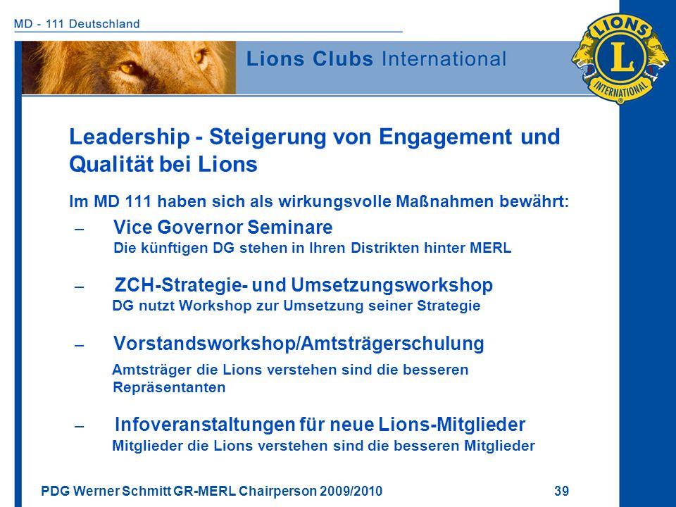 PDG Werner Schmitt GR-MERL Chairperson 2009/2010 39 Leadership - Steigerung von Engagement und Qualität bei Lions Im MD 111 haben sich als wirkungsvol