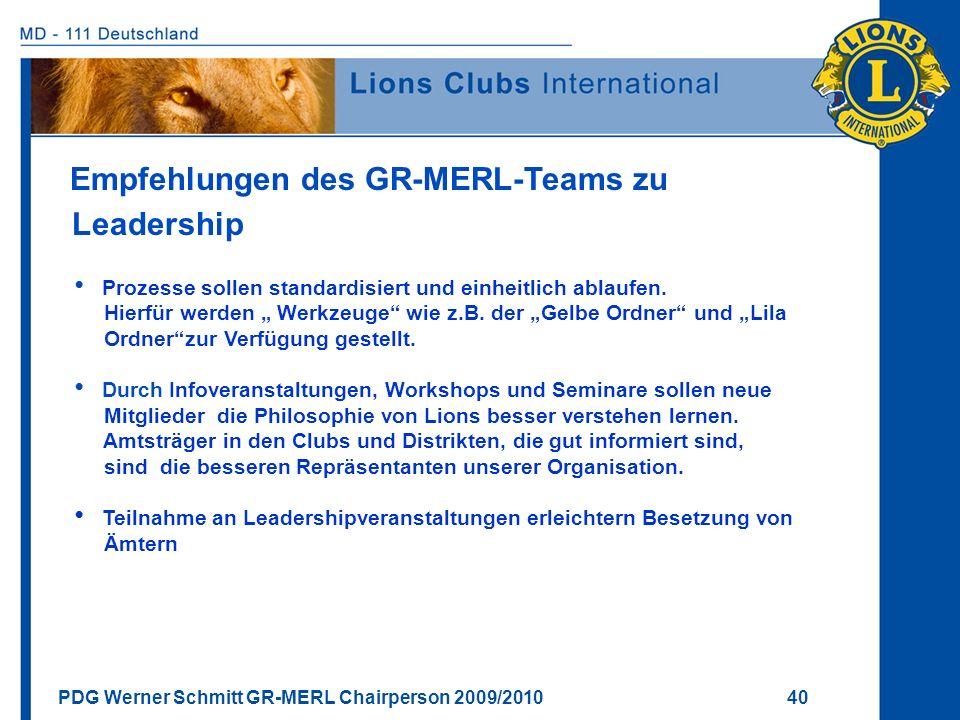 PDG Werner Schmitt GR-MERL Chairperson 2009/2010 40 Empfehlungen des GR-MERL-Teams zu Leadership Prozesse sollen standardisiert und einheitlich ablauf