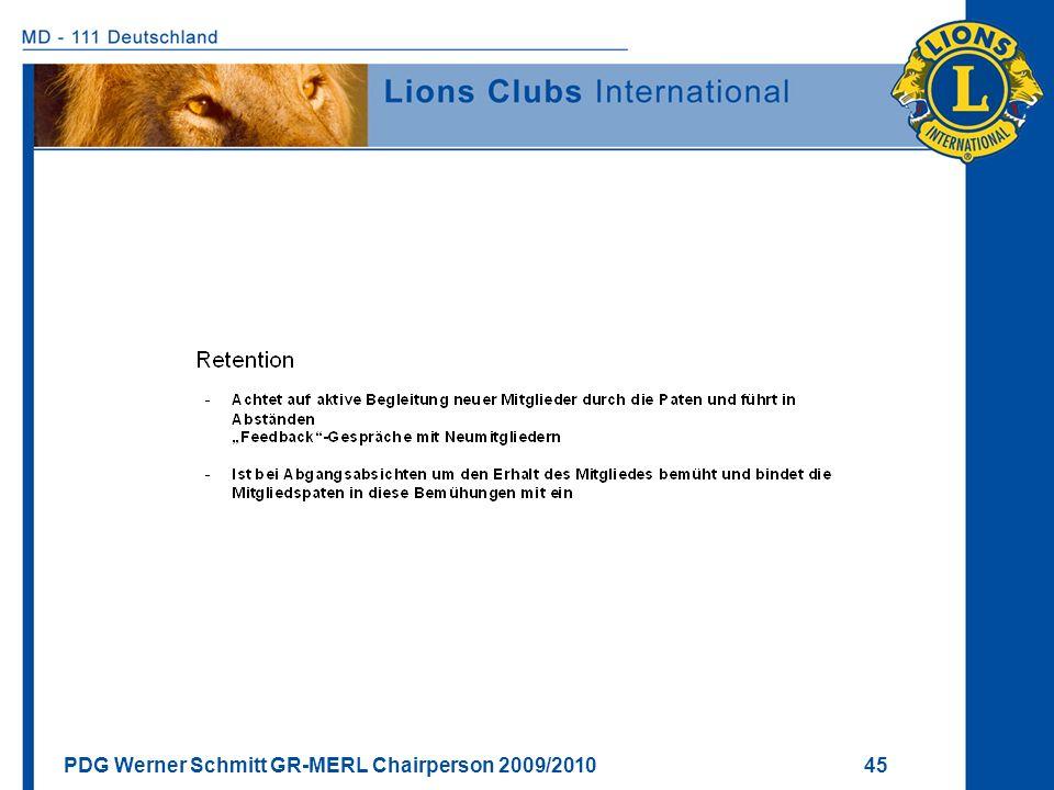 PDG Werner Schmitt GR-MERL Chairperson 2009/2010 45