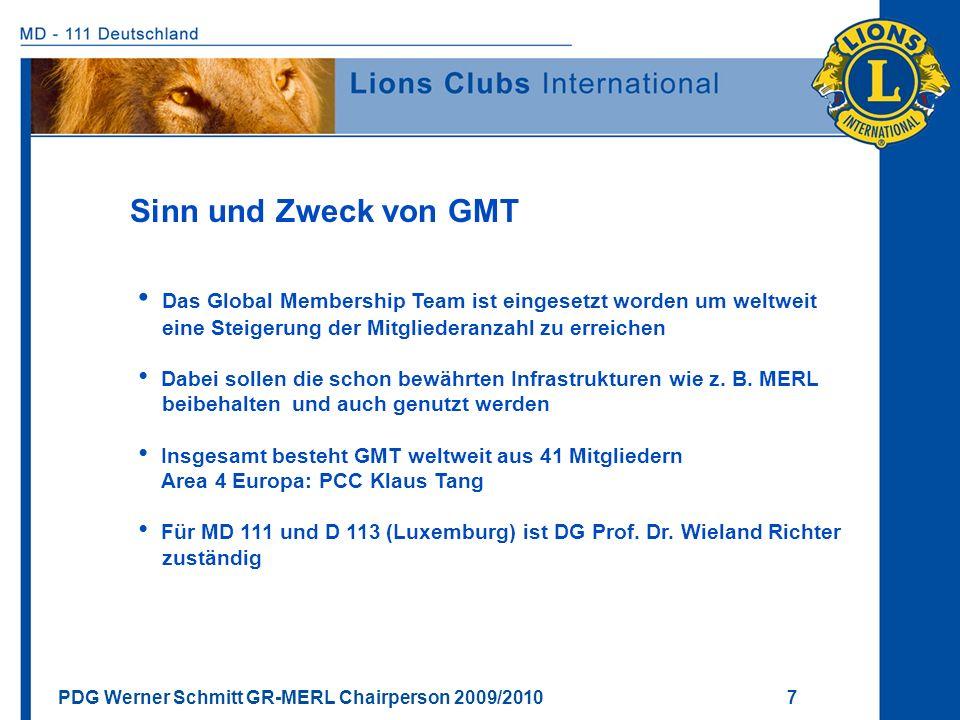 PDG Werner Schmitt GR-MERL Chairperson 2009/2010 7 Sinn und Zweck von GMT Das Global Membership Team ist eingesetzt worden um weltweit eine Steigerung