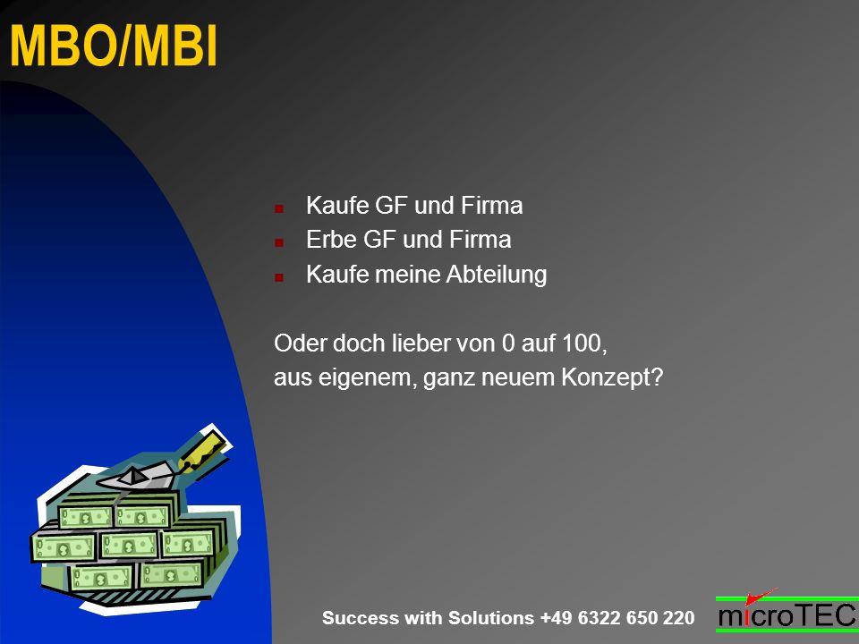 Success with Solutions +49 6322 650 220 MBO/MBI Kaufe GF und Firma Erbe GF und Firma Kaufe meine Abteilung Oder doch lieber von 0 auf 100, aus eigenem