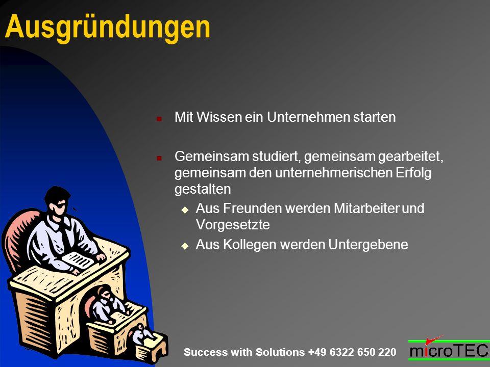 Success with Solutions +49 6322 650 220 Ausgründungen Mit Wissen ein Unternehmen starten Gemeinsam studiert, gemeinsam gearbeitet, gemeinsam den unter