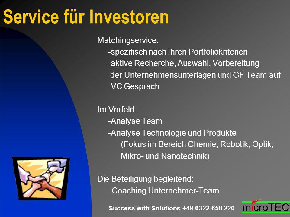 Success with Solutions +49 6322 650 220 Service für Investoren Matchingservice: -spezifisch nach Ihren Portfoliokriterien -aktive Recherche, Auswahl,