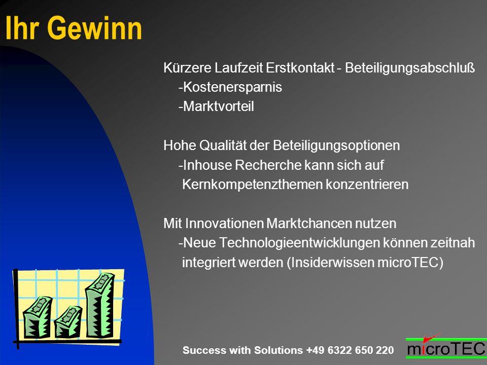 Success with Solutions +49 6322 650 220 Ihr Gewinn Kürzere Laufzeit Erstkontakt - Beteiligungsabschluß -Kostenersparnis -Marktvorteil Hohe Qualität de