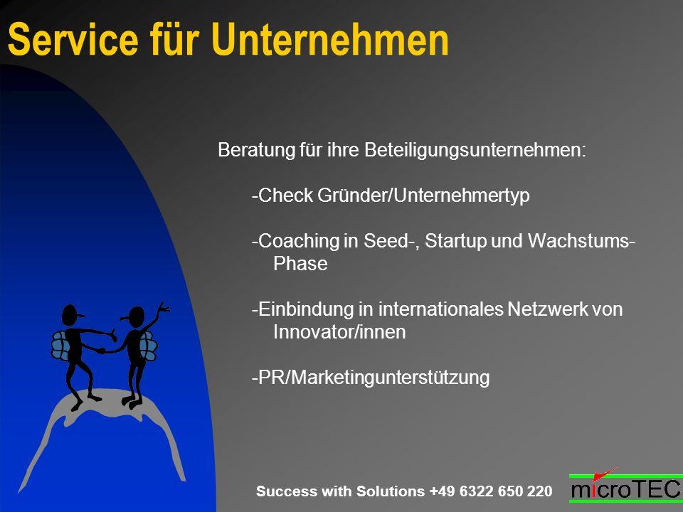 Success with Solutions +49 6322 650 220 Service für Unternehmen Beratung für ihre Beteiligungsunternehmen: -Check Gründer/Unternehmertyp -Coaching in