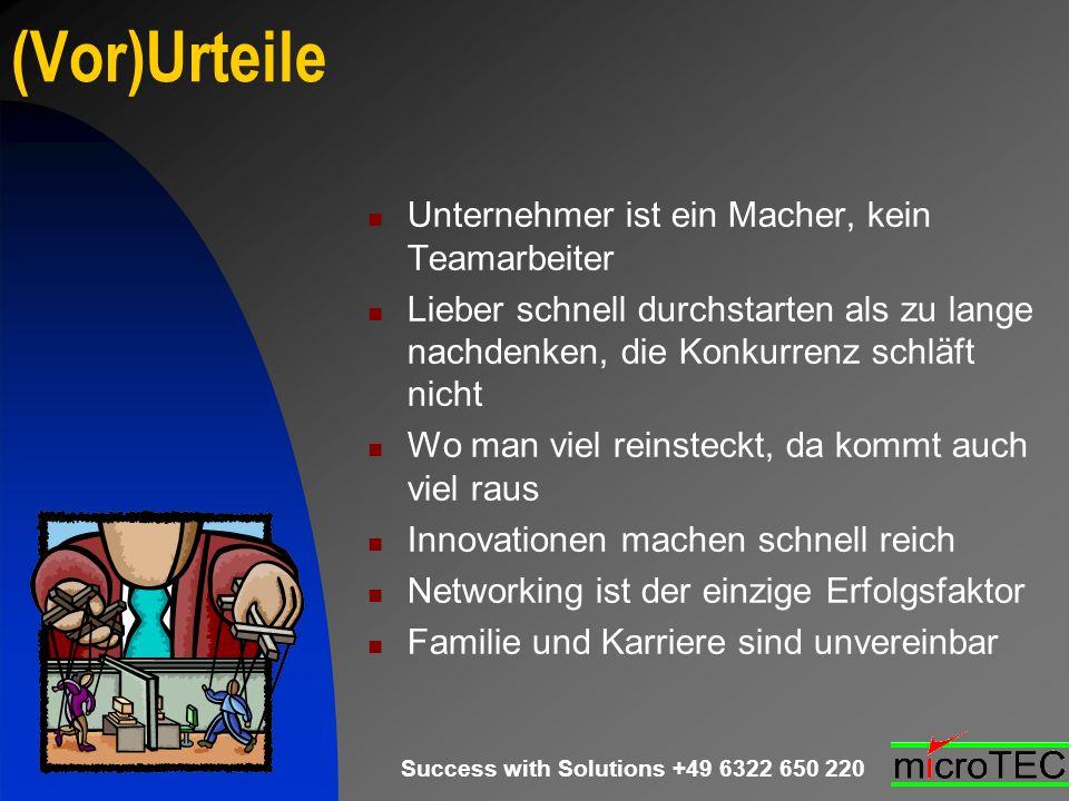Success with Solutions +49 6322 650 220 (Vor)Urteile Unternehmer ist ein Macher, kein Teamarbeiter Lieber schnell durchstarten als zu lange nachdenken