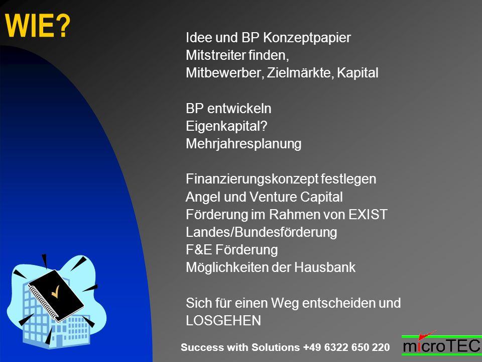 Success with Solutions +49 6322 650 220 WIE? Idee und BP Konzeptpapier Mitstreiter finden, Mitbewerber, Zielmärkte, Kapital BP entwickeln Eigenkapital