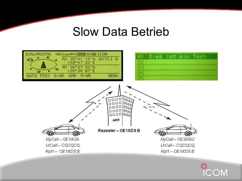 Slow Data Betrieb MyCall – OE3MSU UrCall – CQCQCQ Rpt1 – OE1XDS B MyCall – OE1AOA UrCall – CQCQCQ Rpt1 – OE1XDS B Repeater – OE1XDS B AKH