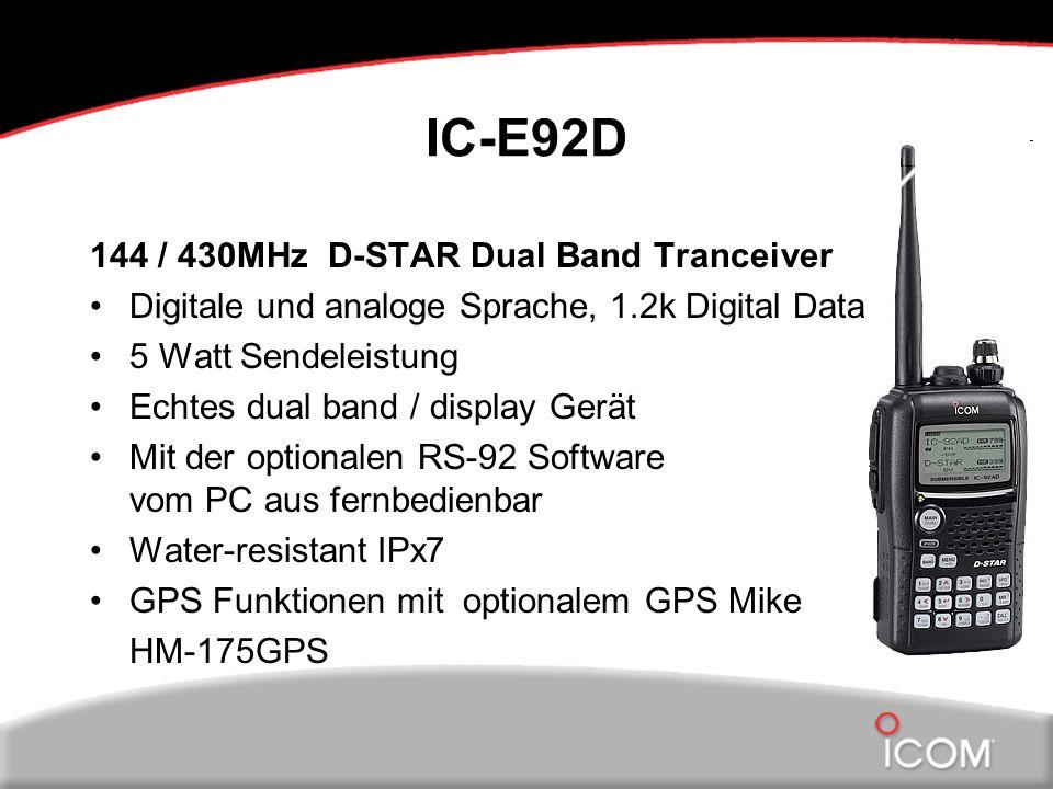 IC-E92D 144 / 430MHz D-STAR Dual Band Tranceiver Digitale und analoge Sprache, 1.2k Digital Data 5 Watt Sendeleistung Echtes dual band / display Gerät