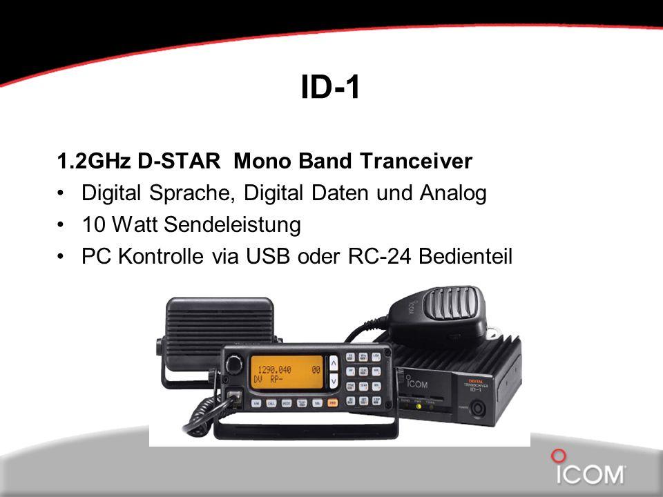 ID-1 1.2GHz D-STAR Mono Band Tranceiver Digital Sprache, Digital Daten und Analog 10 Watt Sendeleistung PC Kontrolle via USB oder RC-24 Bedienteil