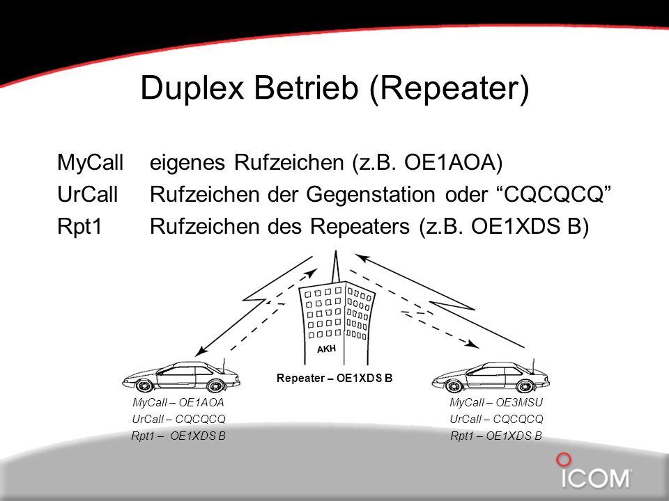Gateway Betrieb MyCalleigenes Rufzeichen (z.B.OE1AOA) UrCallRufzeichen der Gegenstation (z.B.