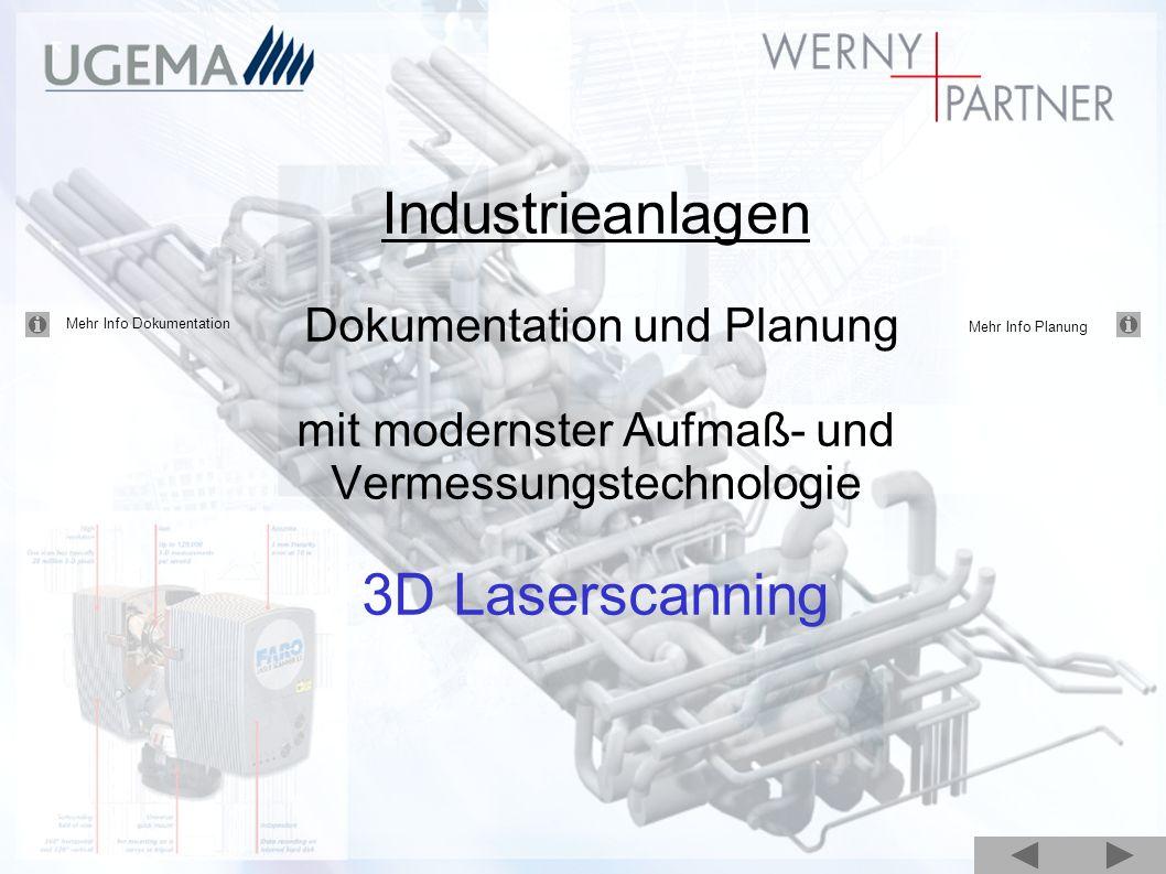 Industrieanlagen Dokumentation und Planung mit modernster Aufmaß- und Vermessungstechnologie 3D Laserscanning Mehr Info Dokumentation Mehr Info Planun