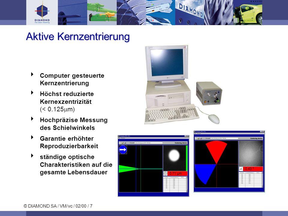 © DIAMOND SA / VM/vc / 02/00 / 7 Aktive Kernzentrierung Computer gesteuerte Kernzentrierung Höchst reduzierte Kernexzentrizität (< 0.125 m) Hochpräzise Messung des Schielwinkels Garantie erhöhter Reproduzierbarkeit ständige optische Charakteristiken auf die gesamte Lebensdauer
