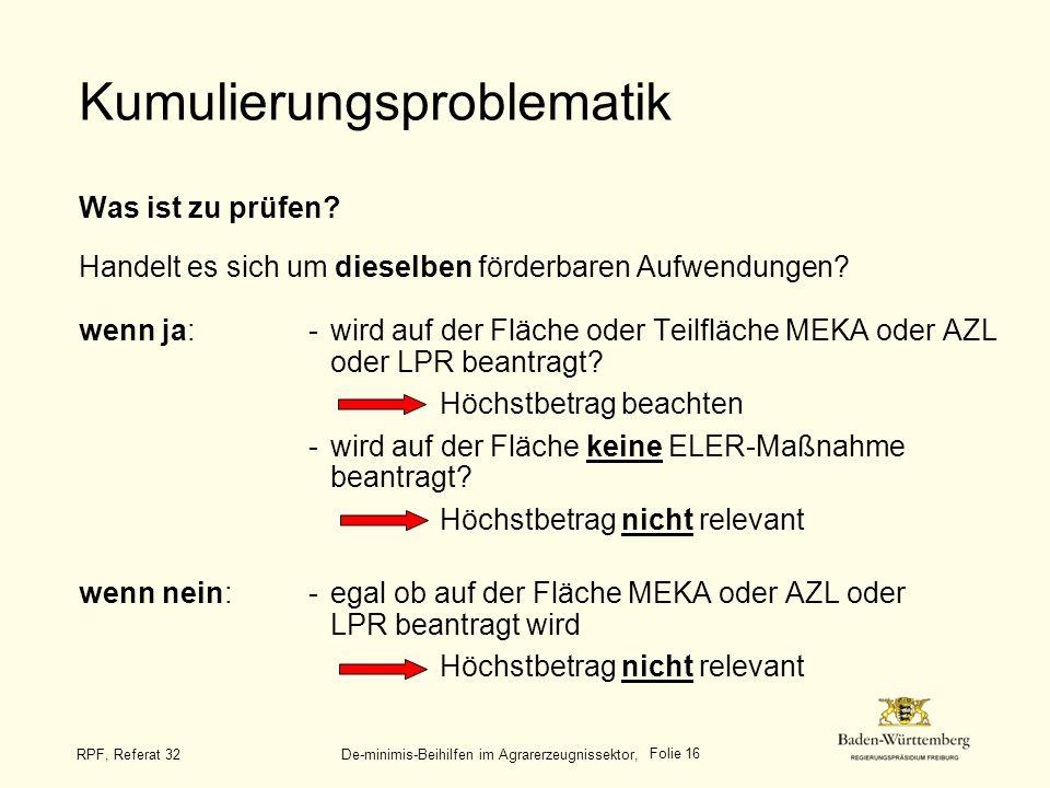 Folie 16 RPF, Referat 32 De-minimis-Beihilfen im Agrarerzeugnissektor, Kumulierungsproblematik Was ist zu prüfen? Handelt es sich um dieselben förderb