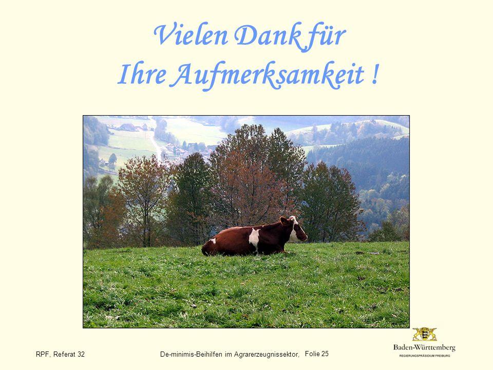 Folie 25 RPF, Referat 32 De-minimis-Beihilfen im Agrarerzeugnissektor, Vielen Dank für Ihre Aufmerksamkeit !