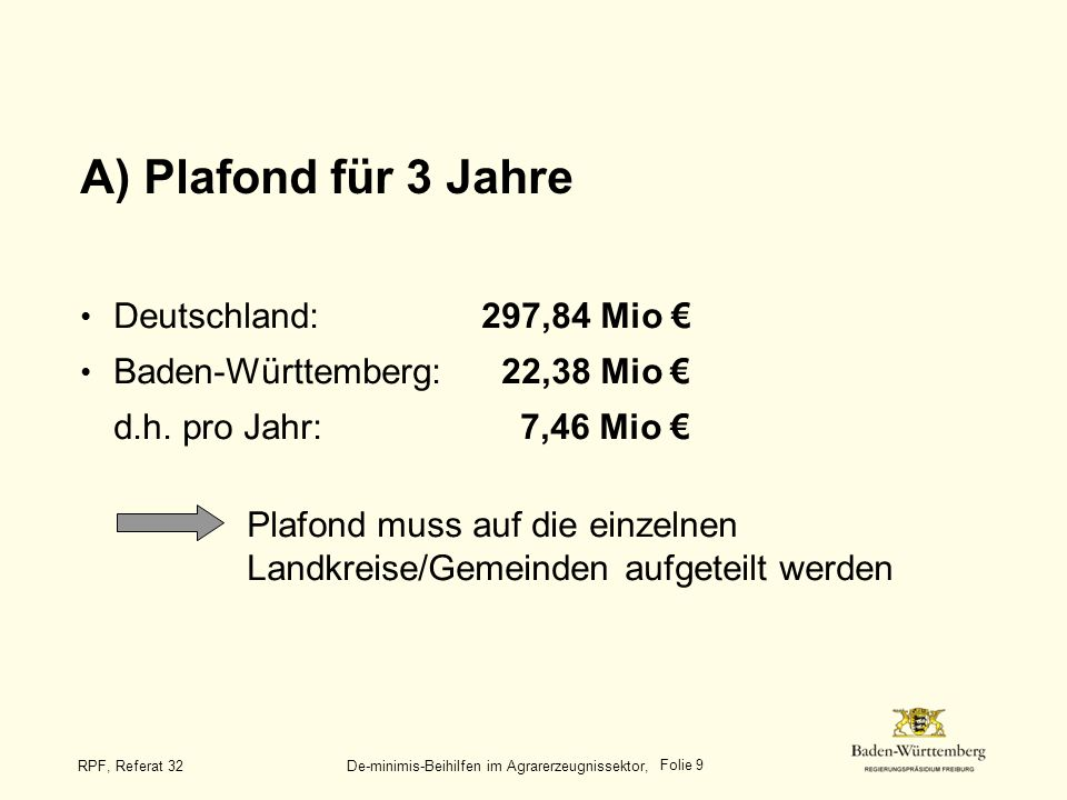 Folie 20 RPF, Referat 32 De-minimis-Beihilfen im Agrarerzeugnissektor, Beispiele (4) Förderung von Grünlandflächen im benachteiligten Gebiet: - im Anhang zur ELER-VO festgelegter Höchstbetrag: 150,- pro ha - Fördersätze der AZL- Richtlinie gestaffelt nach LVZ:von 50,- bis 120,- (Handarbeitsstufe, d.h.