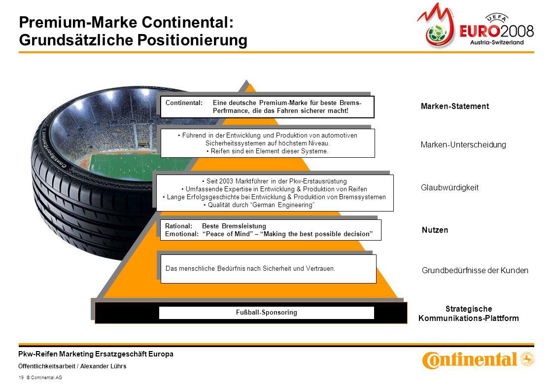 Pkw-Reifen Marketing Ersatzgeschäft Europa Öffentlichkeitsarbeit / Alexander Lührs 19 © Continental AG Premium-Marke Continental: Grundsätzliche Posit
